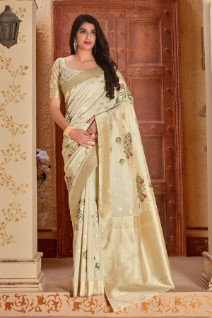 Cream Banarasi Silk  Saree with Blouse