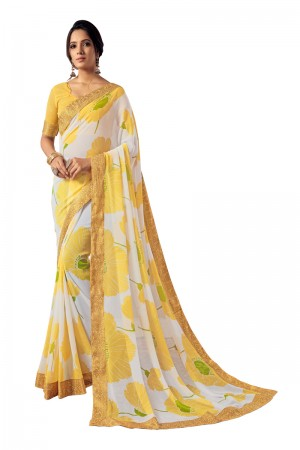 White&Yellow Georgette Saree with Blouse
