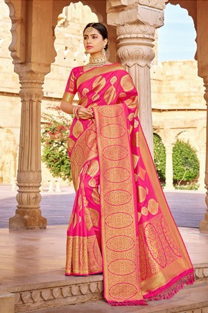 RaniPink Banarasi Silk Saree with Blouse
