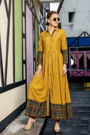 Fantastic Yellow Rayon Print with Fancy Kurti