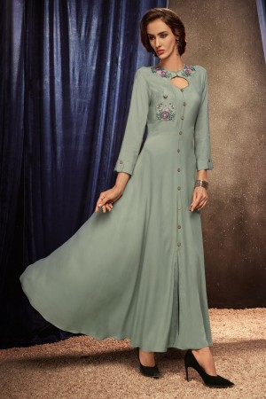 Grey Heavy Rayon Gown