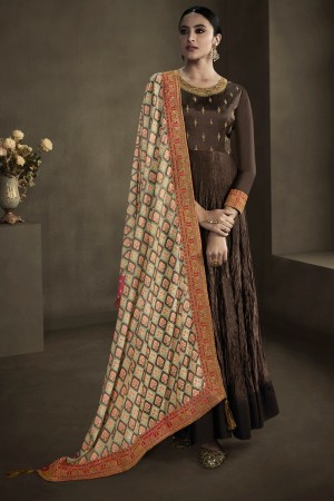 Brown Silky Satin Georgette Gown