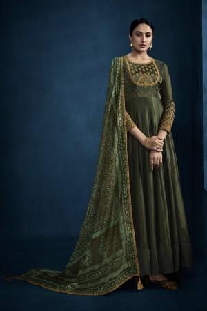 Mehendi Silky Satin Georgette Gown
