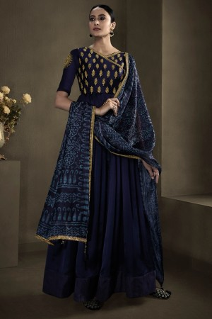 Navy Blue Silky Satin Georgette Gown