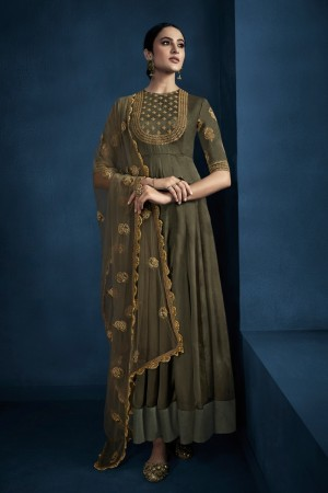 Light Mehendi Silky Satin Georgette Gown