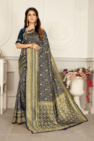 Navy Blue Woven Silk Saree with Blouse