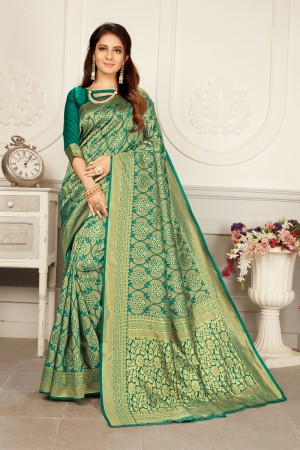 Rama Woven Silk Saree with Blouse