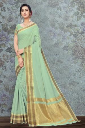 Pista Art Silk Saree with Blouse