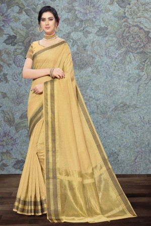 Cream Art Silk Saree with Blouse