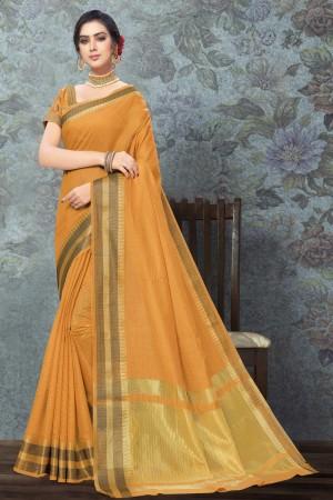 Mustard Art Silk Saree with Blouse