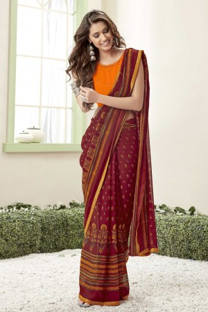 Maroon Georgette Saree with Blouse