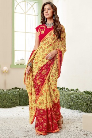 Yellow Georgette Saree with Blouse