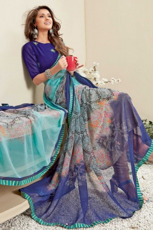 Blue & Sky Blue Georgette Saree with Blouse