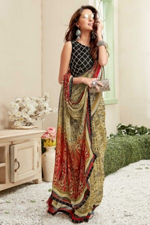 Beige Georgette Saree with Blouse