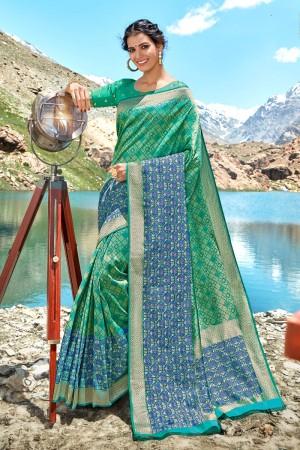 Turquoise Banarasi Silk Saree with Blouse