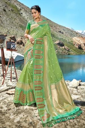 Pista Banarasi Silk Saree with Blouse