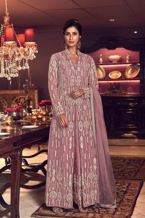 Light Pink Butterfly Net Salwar Kameez
