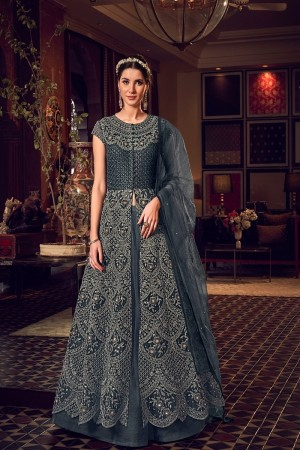 Dark Grey Butterfly Net Salwar Kameez