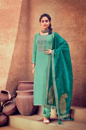 Turquoise Pure Viscose Muslin Dress material