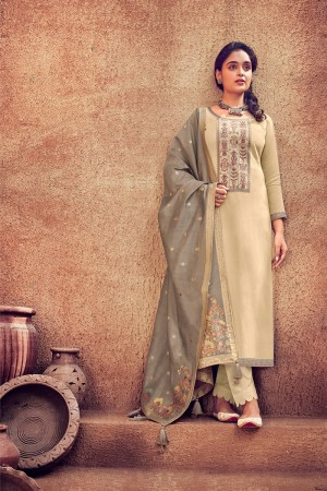Cream Pure Viscose Muslin Dress material