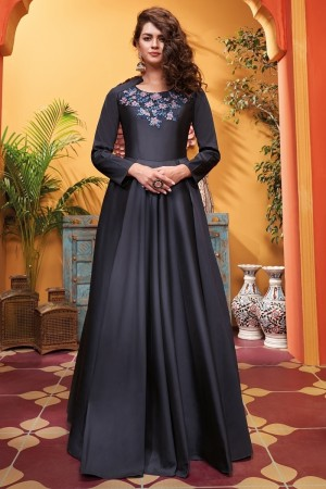 Dark Blue Heavy Soft Silk Gown