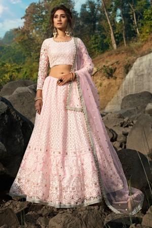 Light Pink Soft Net Lehenga Choli