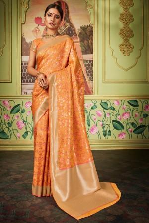 Fenta Banarasi Silk Saree with Blouse