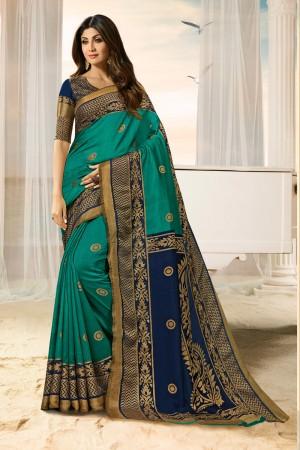 Shilpa Shetty Teal Silk Brasso Saree with Blouse