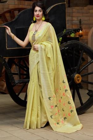 Light Yellow Banarasi Cotton Silk Saree with Blouse