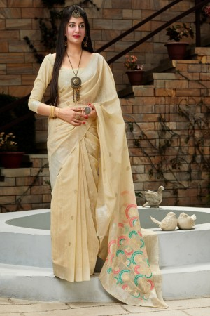 Cream Banarasi Cotton Silk Saree with Blouse
