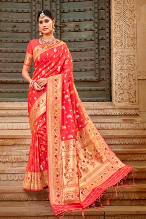 Tometo Red Banarasi Silk Saree with Blouse