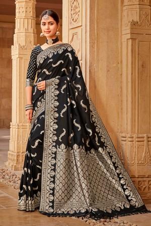 Black Banarasi Silk Saree with Blouse