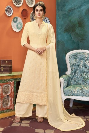 Cream Heavy Faux Georgette Salwar Kameez