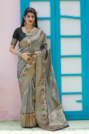 Light Grey Banarasi Silk Saree with Blouse