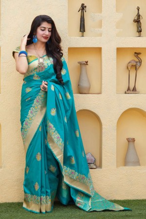 Firozi Banarasi Silk Saree with Blouse