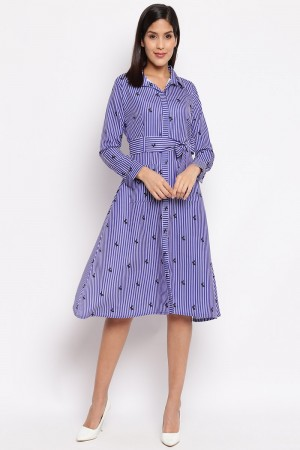 Blue Crepe Western Dress