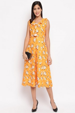 Yellow Crepe Western Dress