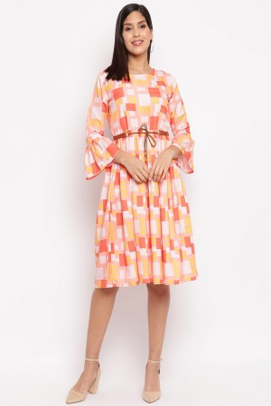Multicolor Crepe Western Dress