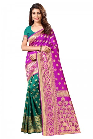 Pink & Green Banarasi Silk Saree with Blouse