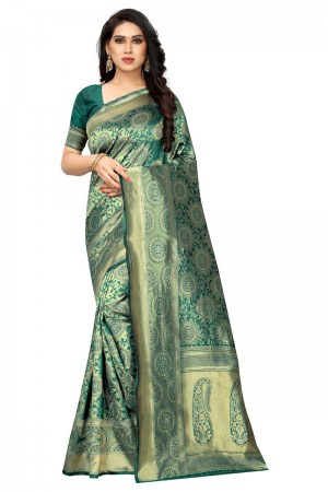 Rama Banarasi Silk Saree with Blouse