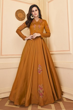 Mustard Heavy Soft Silk Gown