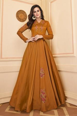 Mustard Heavy Soft Silk Gown