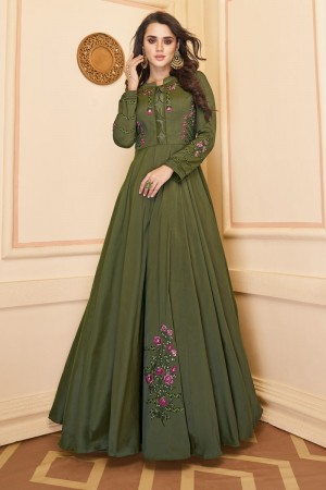 Dark Mehendi Heavy Soft Silk Gown