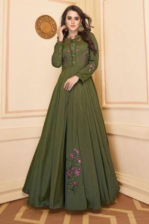 Dark Mehendi Heavy Soft Silk Gown