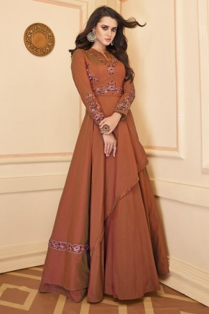 Orange Heavy Soft Silk Gown