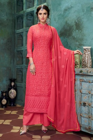 Tometo Red Heavy Faux Georgette Salwar Kameez