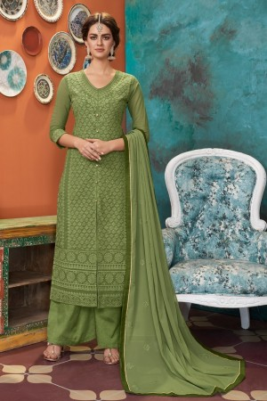 Light green Heavy Faux Georgette Salwar Kameez