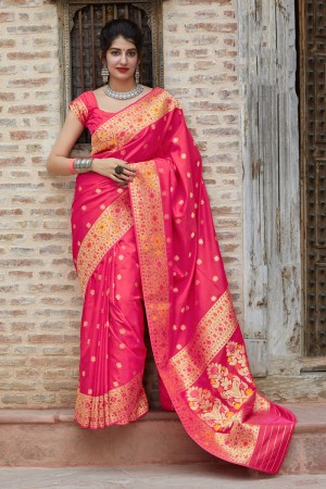 Rani Pink Banarasi Silk Saree with Blouse