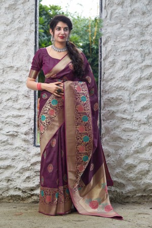 Wine Banarasi Silk Saree with Blouse