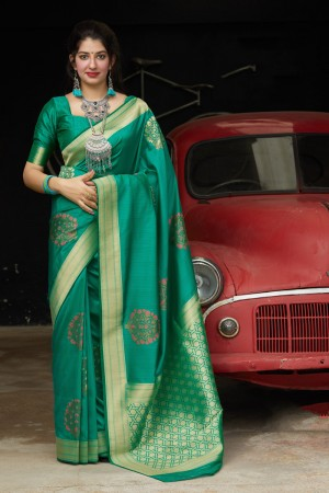 Teal Banarasi Silk Saree with Blouse
